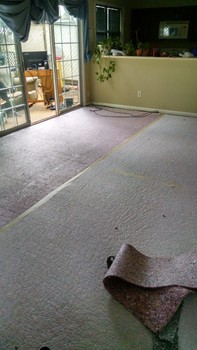 Before and after water damage and carpet install Lilburn, GA